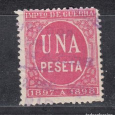 Sellos: IMPUESTO DE GUERRA SELLO DE 1 PESETA USADO. AÑO 1897 (1019). Lote 183520508