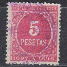 Sellos: IMPUESTO DE GUERRA SELLO DE 5 PESETAS USADO. AÑO 1897 (1019). Lote 183520631