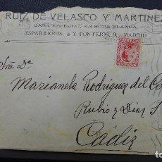 Sellos: CARTA DE MADRID A CADIZ CON SELLO DE 25 CTS Y MEMBRETE RUIZ DE VELASCO Y MARTINEZ AÑO 1930. Lote 183524003