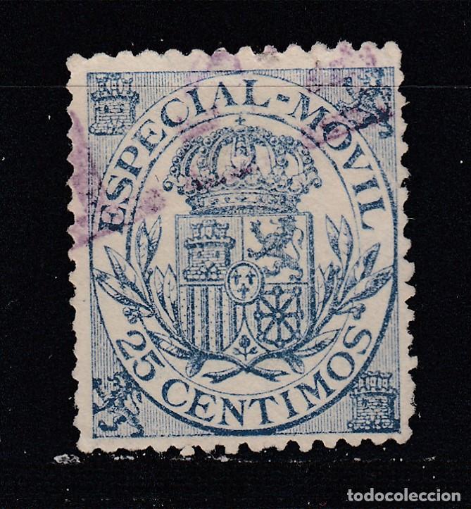 TIMBRE FISCAL. ESPECIAL MOVIL. 25 CTS USADO (1019) (Sellos - España - Alfonso XIII de 1.886 a 1.931 - Usados)