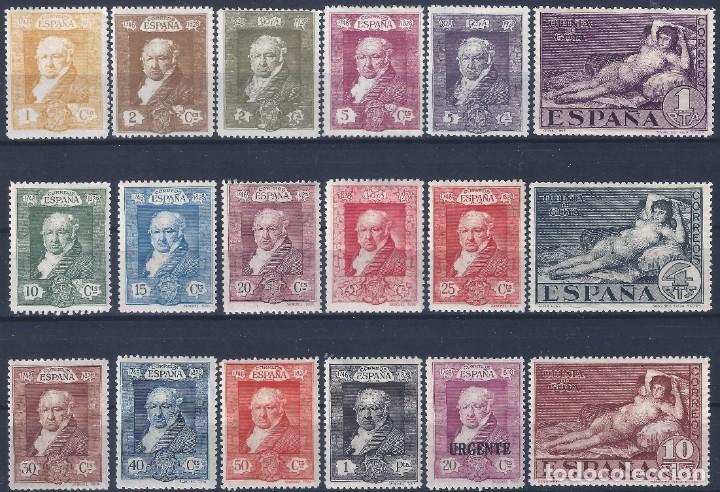EDIFIL 499-516 QUINTA DE GOYA 1930 (SERIE COMPLETA). VALOR CATÁLOGO: 61 €. LUJO. MH * (Sellos - España - Alfonso XIII de 1.886 a 1.931 - Nuevos)