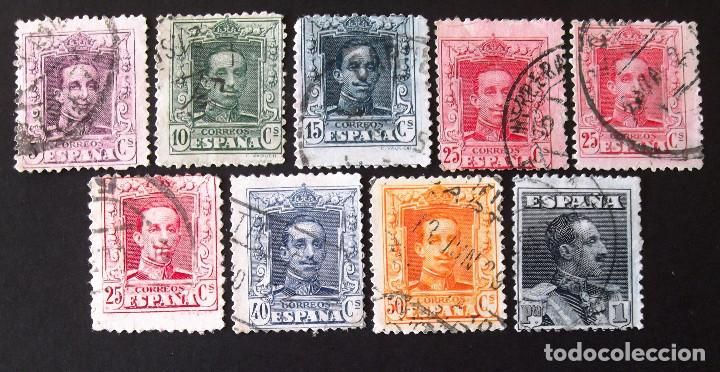 NUEVE SELLOS USADOS DE LA SERIE 310-23, LOS DE LA FOTO. ALFONSO XIII. (Sellos - España - Alfonso XIII de 1.886 a 1.931 - Usados)