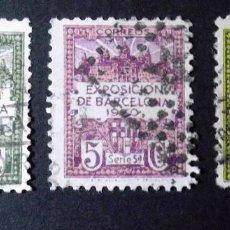 Sellos: BARCELONA, EDIFIL 4, 5 Y 6, TRES SELLOS USADOS, DOBLECES. EXPOSICIÓN. . Lote 185724763