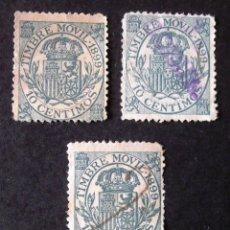 Sellos: TIMBRE MÓVIL, EDIFIL 19, AÑO 1899, TRES SELLOS USADOS, 10 C. ALFONSO XIII.. Lote 186310290