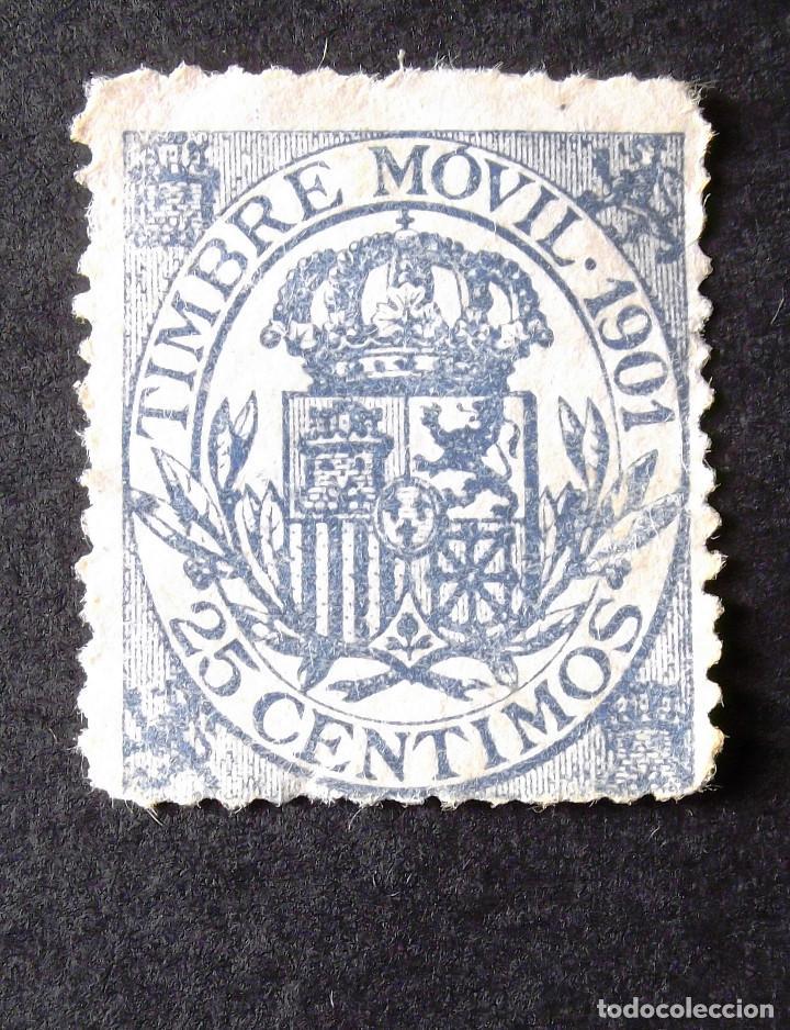 TIMBRE MÓVIL, USADO, AÑO 1901, 25 C. ALFONSO XIII. (Sellos - España - Alfonso XIII de 1.886 a 1.931 - Usados)