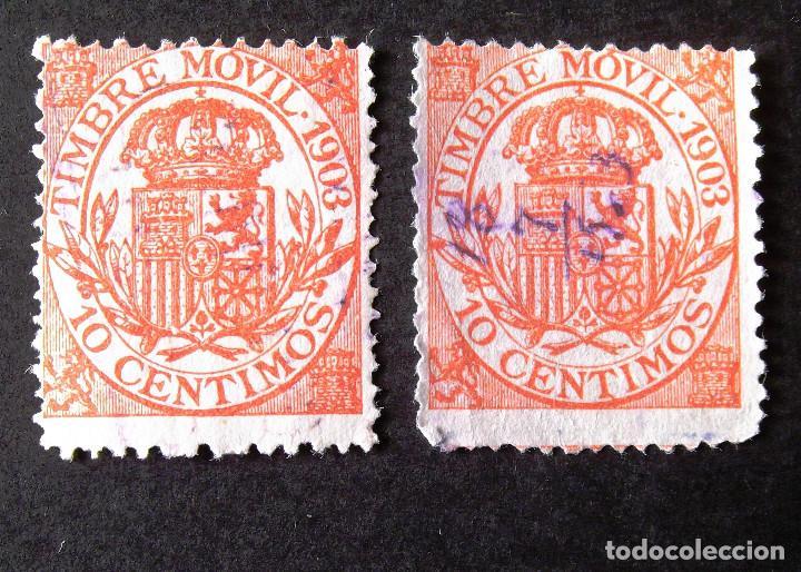 TIMBRE MÓVIL, EDIFIL 23, AÑO 1903, DOS SELLOS USADOS, 10 C. ALFONSO XIII. (Sellos - España - Alfonso XIII de 1.886 a 1.931 - Usados)