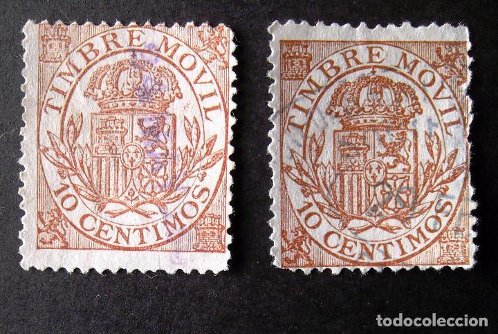 TIMBRE MÓVIL, EDIFIL 25, AÑO 1904, DOS SELLOS USADOS, 10 C. ALFONSO XIII. (Sellos - España - Alfonso XIII de 1.886 a 1.931 - Usados)