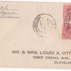 Timbres: F6-18- ALFONSO XIII MEDALLON BLOQUE DE 4 EN CARTA PALMA MALLORCA -USA 1931 (USO TARDÍO). Lote 186736858