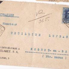 Sellos: F6-73- ALFONSO XIII VAQUER CERTIFICADO CUCHILLERÍA CLARET BARCELONA- FRANCIA 1924. Lote 186738827