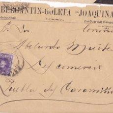 Sellos: F6-74- CARTA BERGANTÍN GOLETA JOAQUINA. LA GUARDIA (CAMPOSANCOS) A LA PUEBLA DEL CARAMIÑAL. Lote 186742111