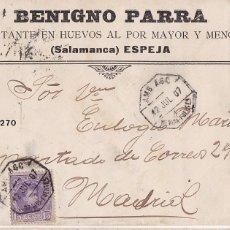Sellos: F6-76-CARTA TRATANTE DE HUEVOS ESPEJA SALAMANCA 1907. AMBULANTE 1 MEDINA-FUENTES. Lote 186757377