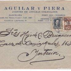 Sellos: F6-83- CARTA AGENTES ADUANAS BARCELONA 1930 CON ALFONSO XIII VAQUER EDIFIL 315B EN CARTA. Lote 187173357