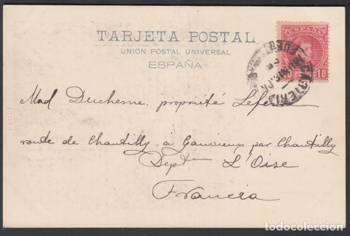 TARJETA, FUENTERRABIA A FRANCIA, CARTERÍA INICIATIVA PARTICULAR FUENTERRABIA / GUIPUZCOA (Sellos - España - Alfonso XIII de 1.886 a 1.931 - Cartas)