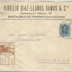 Sellos: TENERIFE CC A BERLIN MAT BUZONES VAPOR CORREOS CADIZ VIÑETA CLIMA . Lote 187481292
