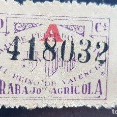 Sellos: 10 CENTIMOS TRABAJO AGRICOLA,EL REINO DE VALENCIA 1927. Lote 187505122