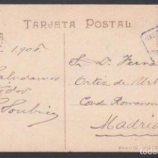Sellos: TARJETA, PUENTE VIESGO A GIJON, CARTERÍA INICIATIVA PARTICULAR, COLOR VIOLETA. Lote 188680927