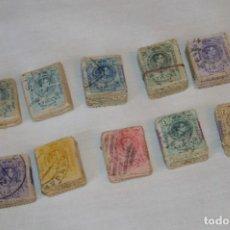 Sellos: OPORTUNIDAD 1000 SELLOS, ALFONSO XIII MEDALLÓN, VALORES DIFERENTES, REVERSO NUMERADOS, PASTILLAS 100. Lote 190429010