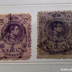 Sellos: ESPAÑA 1909 2 SELLOS ALFONSO XIII 15C Y 20C USADOS, CON Nº EN EL DORSO. Lote 190538347