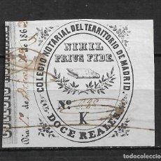 Sellos: COLEGIO NOTARIAL MADRID SERIE K DOCE REALES 1862 - 15/17. Lote 190562483