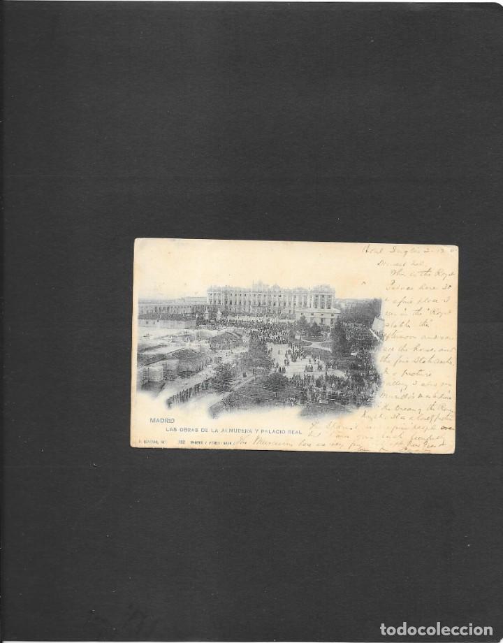 MADRID POSTAL PRINCIPIOS DE LA CONSTRUCCION CATEDRAL DE LA ALMUDENA CIRCULADA A LONDRES EN 1901 (Sellos - España - Alfonso XIII de 1.886 a 1.931 - Cartas)