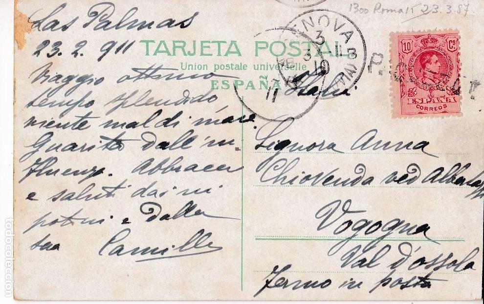F7-22- POSTAL LAS PALMAS- ITALIA 1911 MATASELLOS LINEAL PAQUEBOT (Sellos - España - Alfonso XIII de 1.886 a 1.931 - Cartas)