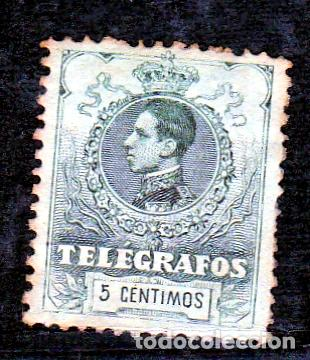 ESPAÑA.- TELEGRAFOS Nº 47 5 CENTIMOS SIN GOMA.- (Sellos - España - Alfonso XIII de 1.886 a 1.931 - Usados)