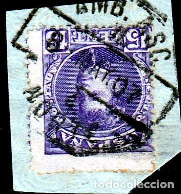 MATASELLO AMBULANTE DE FERROCARRIL NORTE SOBRE SELLO 210. (Sellos - España - Alfonso XIII de 1.886 a 1.931 - Usados)