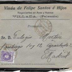 Sellos: BURGOS. SOBRE CON MEMBRETE PUBLICITARIO DE VALENTIN MATAS ALMACEN DE COLONIALES. Lote 191353137