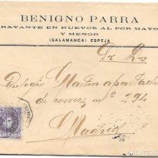 Sellos: ESPEJA. SOBRE CON MEMBRETE PUBLICITARIO DE BENIGNO PARRA. 1906. Lote 191353911