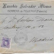 Sellos: CADETE. EDIFIL 246. SOBRE CIRCULADO DE HERRERA DEL RIO PISUERGA - PALENCIA A MADRID. 1906. Lote 191357406