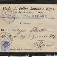 Sellos: MEDALLON. EDIFIL 270. SOBRE CIRCULADO DE VILLADA - PALENCIA A MADRID. 1909. Lote 191358193