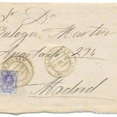 Sellos: MEDALLON. EDIFIL 270. SOBRE CIRCULADO DE ALAR DEL REY - PALENCIA A MADRID. 1910. Lote 191358458