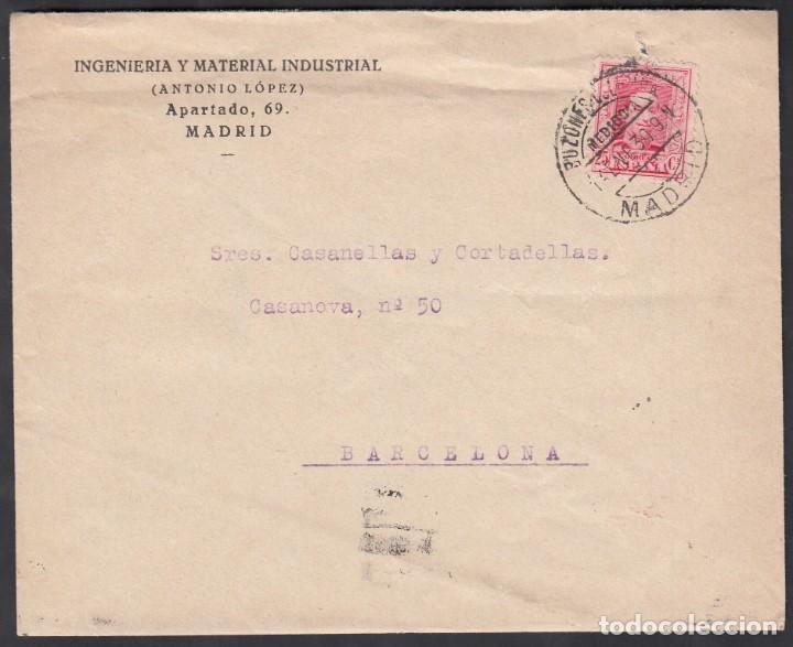 CARTA, MADRID - BARCELONA, MATASELLOS BUZONES COLUMNA, MEDIODÍA MADRID. (Sellos - España - Alfonso XIII de 1.886 a 1.931 - Cartas)
