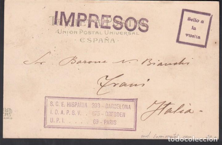 Sellos: Tarjeta Postal, Madrid- Italia, Matasellos Mecánico Especial de Madrid, Impresos - Foto 2 - 191659906