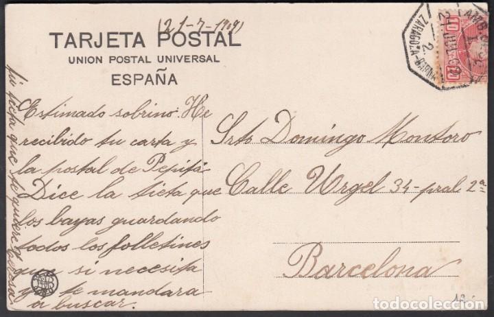TARJETA POSTAL, MATASELLOS AMBULANTE DESCENDIENTE, ZARAGOZA-BARCELONA, 21.JUL.09 (Sellos - España - Alfonso XIII de 1.886 a 1.931 - Cartas)