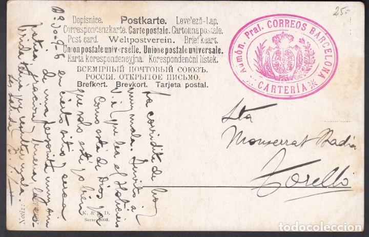 TARJETA POSTAL ,MARCA ADMINISTRATIVA, CARTERÍA, ADMÓN PRAL. CORREOS BARCELONA. COLOR ROJO (Sellos - España - Alfonso XIII de 1.886 a 1.931 - Cartas)