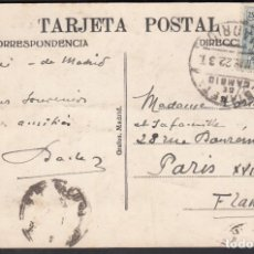 Sellos: TARJETA POSTAL, MADRID - FRANCIA, MATASELLOS ESTAFETA DE CAMBIO MADRID. 22.MAY.33. Lote 191660728