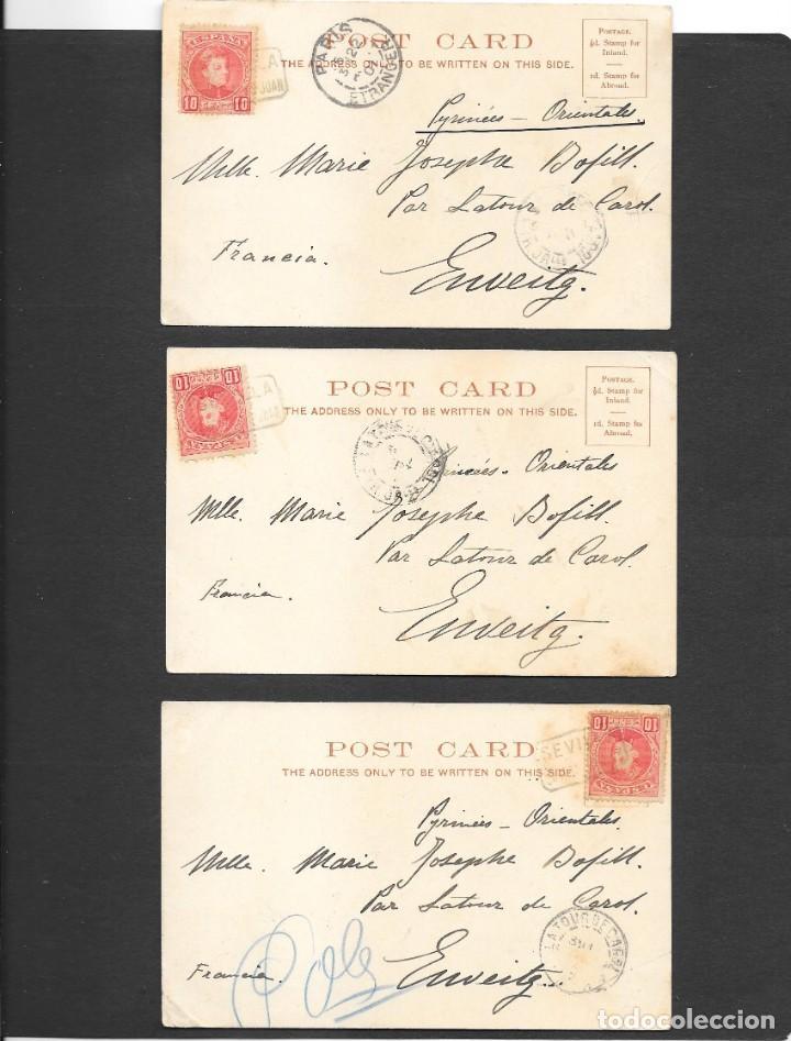 ESPAÑA ONCE POSTALES DE LONDRES AÑO 1901 CON MATASELLOS DE CARTERIA ESPAÑOLA- CABEZA DE SAN JUAN (Sellos - España - Alfonso XIII de 1.886 a 1.931 - Cartas)