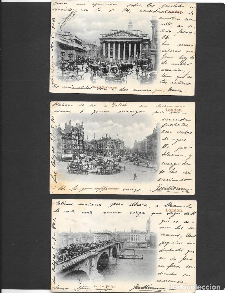 Sellos: ESPAÑA ONCE POSTALES DE LONDRES AÑO 1901 CON MATASELLOS DE CARTERIA ESPAÑOLA- CABEZA DE SAN JUAN - Foto 2 - 191690541