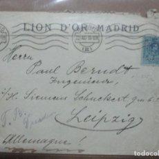 Sellos: CIRCULADA 1919 DE LION D´OR MADRID A LEIPZIG ALEMANIA. Lote 191989301