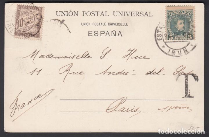 TARJETA POSTAL, IRUN A PARIS, SELLO DE TASA FRANCÉS POR FALTA DE FRANQUEO (Sellos - España - Alfonso XIII de 1.886 a 1.931 - Cartas)