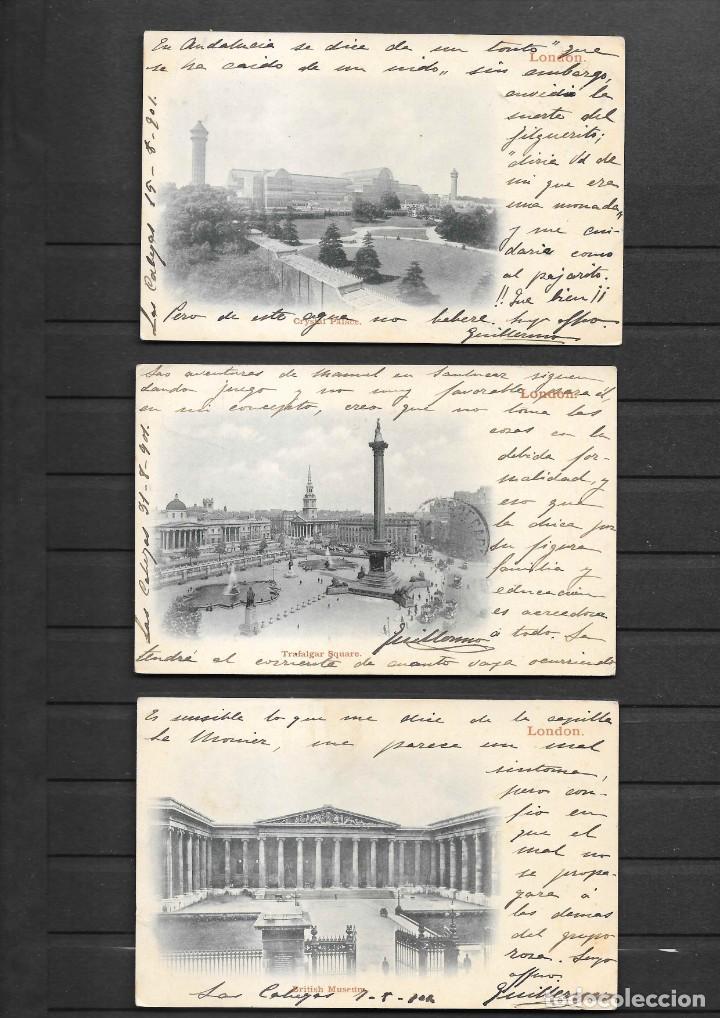 Sellos: ESPAÑA ONCE POSTALES DE LONDRES AÑO 1901 CON MATASELLOS DE CARTERIA ESPAÑOLA- CABEZA DE SAN JUAN - Foto 6 - 191690541