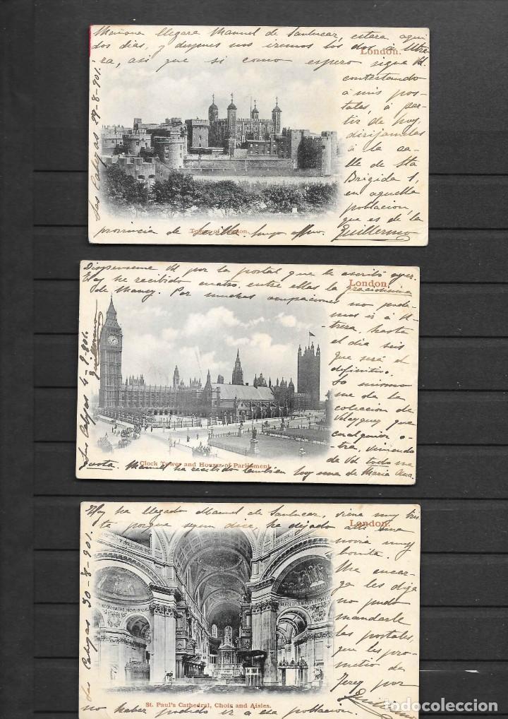 Sellos: ESPAÑA ONCE POSTALES DE LONDRES AÑO 1901 CON MATASELLOS DE CARTERIA ESPAÑOLA- CABEZA DE SAN JUAN - Foto 7 - 191690541