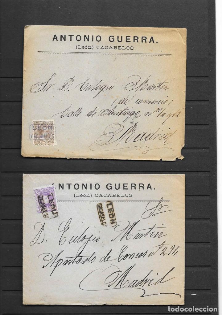 LEON 3 SOBRES CON MATASELLOS DE CARTERIAS CIRCULADOS A MADRID, TAMBIÉN TEMÁTICA MASONES (Sellos - España - Alfonso XIII de 1.886 a 1.931 - Cartas)