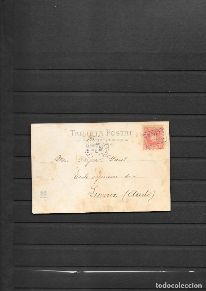 BARCELONA-LLINAS POSTAL CIRCULADA EN 1903 A FRANCIA MATASELLO DE CARTERIA LLINAS (Sellos - España - Alfonso XIII de 1.886 a 1.931 - Cartas)