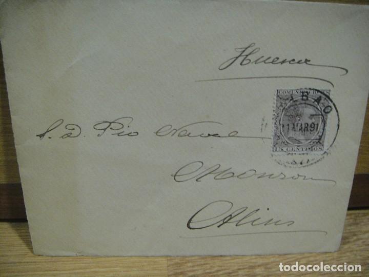 SOBRE CIRCULADO DE BILBAO A MONZON - AÑO 1891 (Sellos - España - Alfonso XIII de 1.886 a 1.931 - Cartas)