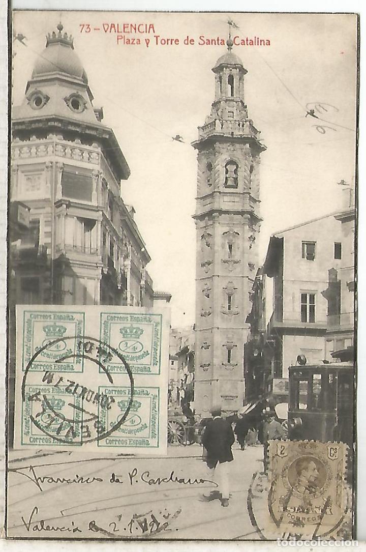 POSTAL VALENCIA 1912 A BELGICA SELLOS ALFONSO XIII MEDALLON Y CUARTILLOS (Sellos - España - Alfonso XIII de 1.886 a 1.931 - Cartas)