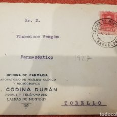 Sellos: CARTA CIRCULADA CALDAS DE MONTBUY A TORRELLO CONTESTADA 1927 CURIOSA. Lote 194003625