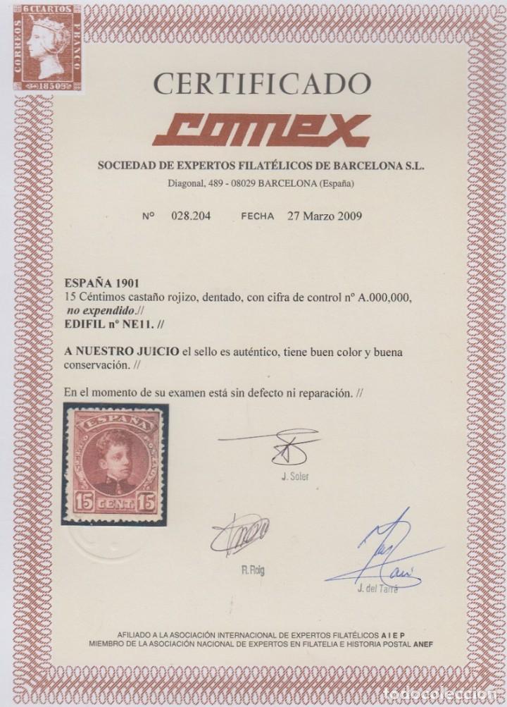 Sellos: ESPAÑA. EDIFIL NE 11 *. 15 CTS CASTAÑO ROJIZO NO EXPENDIDO. CATÁLOGO 1680 € - Foto 3 - 194326303