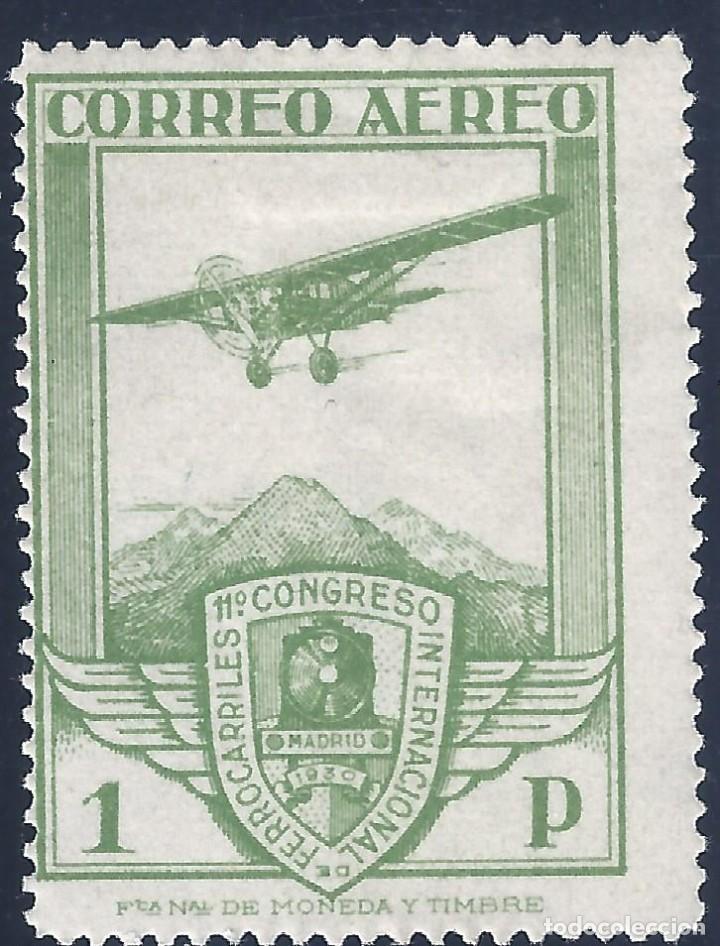 EDIFIL 487 CONGRESO INTERNACIONAL DE FERROCARRILES. AVIÓN BRISTOL 1930. VALOR CATÁLOGO: 74 €. MH * (Sellos - España - Alfonso XIII de 1.886 a 1.931 - Nuevos)